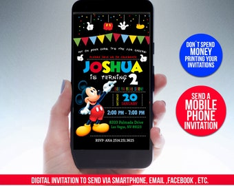 Mickey Mouse Birthday Invitation For PHONES And MOBILE DEVICES Personalized Digital File Ready To Send Your Guests M14
