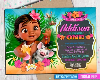Baby Moana Invitation Digital File PERSONALIZED With Your Info Ready To Print 4x6 Or 5x7 Inch And Deco Package Thank You Card M046