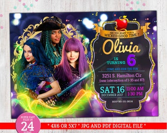 Descendants DIGITTAL Invitation With Mal Evie Uma Of 2 Disney Movie Decoration Package For Birthday Party D017