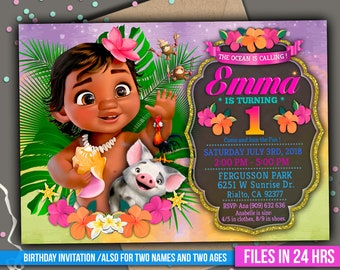 Baby Moana Invitation Digital File PERSONALIZED With Your Info Ready To Print 4x6 Or 5x7 Inch And Deco Package Thank You Card M055