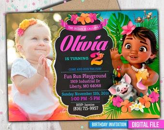 Baby Moana Invitation WITH PHOTO Deco Party Invite To Any Age M046