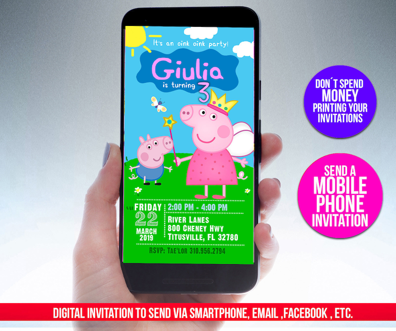 Birthday Invitation For Phones And Mobile Devices Peppa Pig Birthday Personalized Digital File Ready To Send To Your Guests Peppa Pig