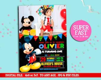 MICKEY MOUSE Invitation whit photo, mickey Invitation, Disney invitation, Mickey mouse birthday,Birthday Invitation, to Any age. Mk08