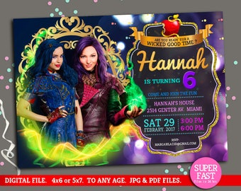Descendants Invitation, Disney Descendants Invite, Descendants Birthday, Disney Descendants Mal Evie Party, to Any age. D01