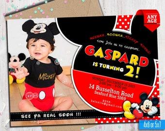 MICKEY MOUSE Invitation whit photo, mickey Invitation, Disney invitation, Mickey mouse birthday,Birthday Invitation, , to Any age. Mk09