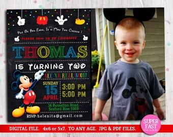 MICKEY MOUSE Invitation whit photo, mickey Invitation, Disney invitation, Mickey mouse birthday,Birthday Invitation, , to Any age. Mk10