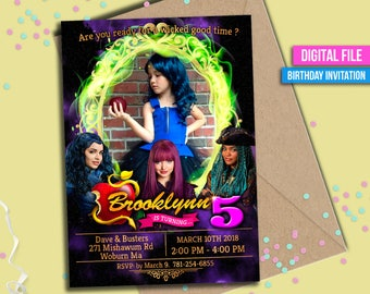 Descendants Invitation, Descendants 2, Disney Descendants Invite, Descendants Birthday, Disney Descendants Mal Evie Party, to Any age. D041