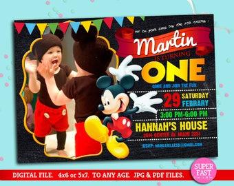 MICKEY MOUSE Invitation whit photo, mickey Invitation, Disney invitation, Mickey mouse birthday,Birthday Invitation, to Any age. Mk04