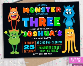 Monster Birthday Invitation, Little Monster Invitation, Monster Party Invitations, Any age.