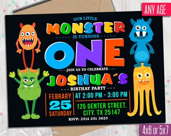 Monster Birthday Invitation, first Birthday invitation, Little Monster Invitation, Monster Party Invitations, One year or Any age.