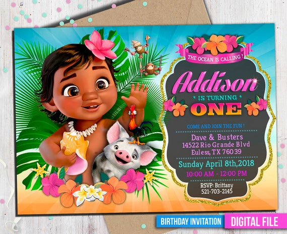 Baby Moana Invitation Digital File Personalized With Your Etsy