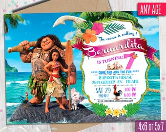 Moana Invitation, Moana Invitation, Moana summer invitation, Moana summer party, Moana Party Invite, to Any age. M001
