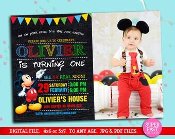 MICKEY MOUSE Invitation whit photo, mickey Invitation, Disney invitation, Mickey mouse birthday,Birthday Invitation, , to Any age. Mk05