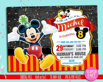 MICKEY MOUSE Invitation, mickey Invitation, Disney invitation, Mickey mouse birthday,Birthday Invitation, , to Any age. MC01