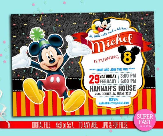 MICKEY MOUSE Invitation Mickey Disney