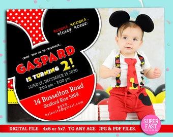 MICKEY MOUSE Invitation whit photo, mickey Invitation, Disney invitation, Mickey mouse birthday,Birthday Invitation, , to Any age. Mk11