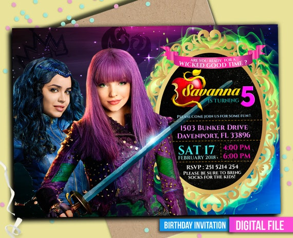 Descendants Invitation Descendants 2 Disney Descendants Etsy