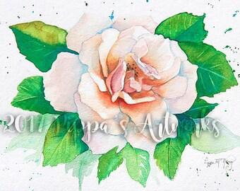 Wall Art, Original Watercolor Painting Print, Floral Painting, Watercolor Flower Print, Watercolor Rose, Flower Print