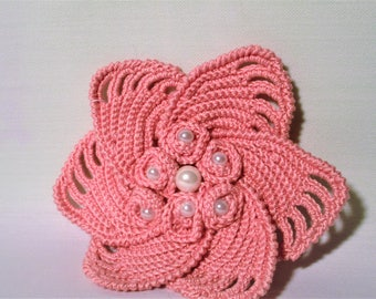 Old crochet rose flower handmade brooch