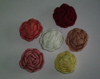 Set of 6 roses crocheted handmade creation