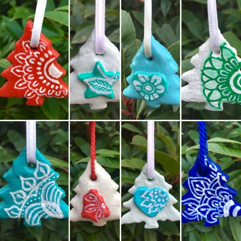 Mini Salt Dough Christmas Tree Ornaments Hand Painted with ...