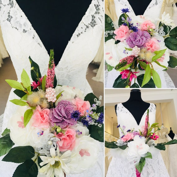 Wedding Bridal Bouquet Vintage Style Lilac And White French Etsy