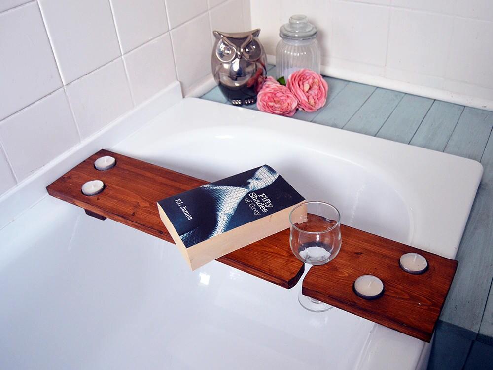 Wooden Bath Shelf Rustic Bath Caddy Bath Drinks Holder Bath | Etsy