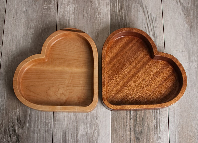 Wooden Bowl Wooden Tray Wooden Candy Tray Heart Shaped Tray