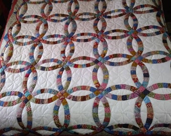 Double wedding ring quilt   Etsy