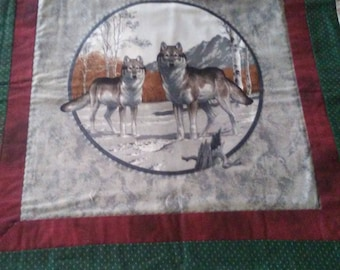 Handquilted Wolf Wall Hanging