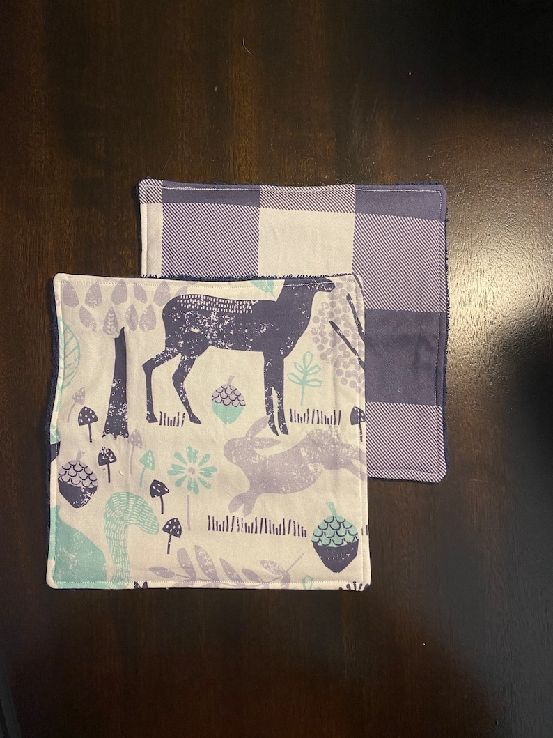 Deer Washcloths Baby Boy Washcloths Baby Bath Time Woodland Washcloths New Baby Gift Wildlife Baby Washcloths Baby\u2019s First Bath