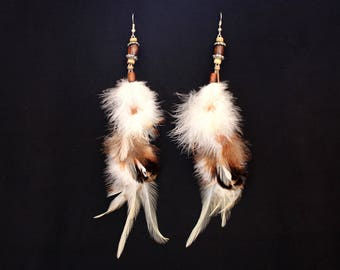 "Earrings feathers ""Soft clouds"""