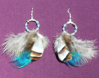 "Earrings feathers ""Pom Pom feathers"""