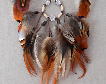 """Natural feathers """"Free tribe"""" necklace"""