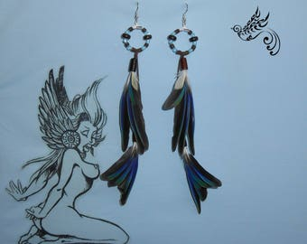 "Earrings feathers ""Meeting"""