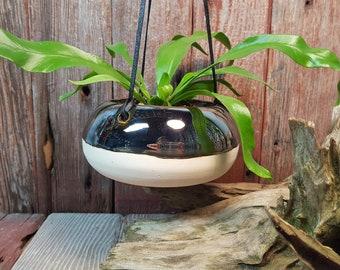Mod Metallic Ceramic Hanging Planter, Mirrored Finish Small Ceramic Planter, Handmade Artisan Hanging Planter
