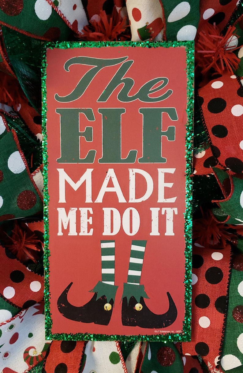 Wreaths Christmas Door Wreath Elf Christmas Decorations Elf Elf Wreath Elf Decor Christmas Wreath for front door