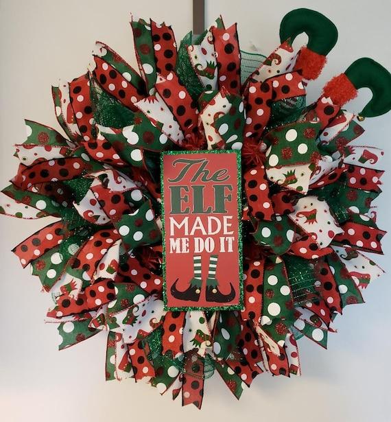 Elf Wreath Elf Christmas Decorations Christmas Door Wreath Etsy