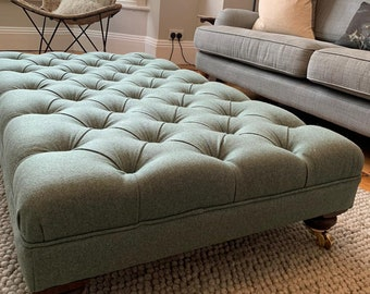 Large Deep Buttoned Footstool