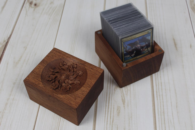 Card Deck Box with Magnetic Latching Lid  Distinctive Carved image 0