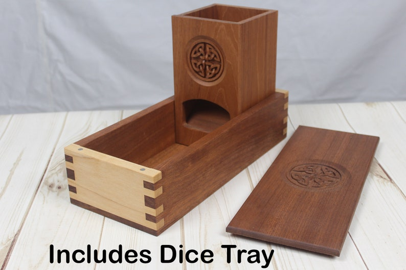 Magnetic Dice Tower & Dice Tray With Artisan Carving Design image 0