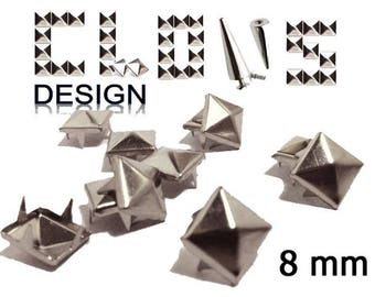Customisation X 500 (8mm) silver pyramid studs