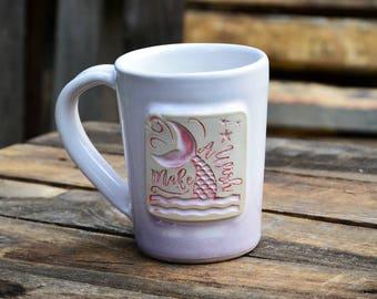 Mermaid Handmade Stoneware Pottery Mug Pink