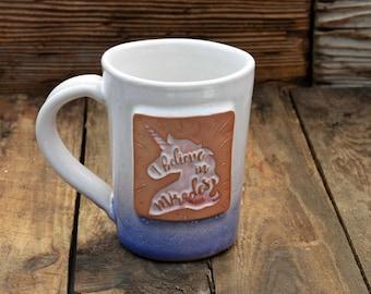 Unicorn Handmade Stoneware Pottery Mug Pink