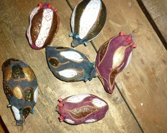 Set of six baubles original from baobab fruit, dried, painted, embellished with glued elements