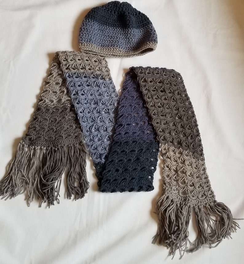Broomstick Lace Crochet Scarf Peacock Crochet And Matching Etsy