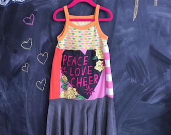 Girls up-cycled t-shirt dress size 5=6