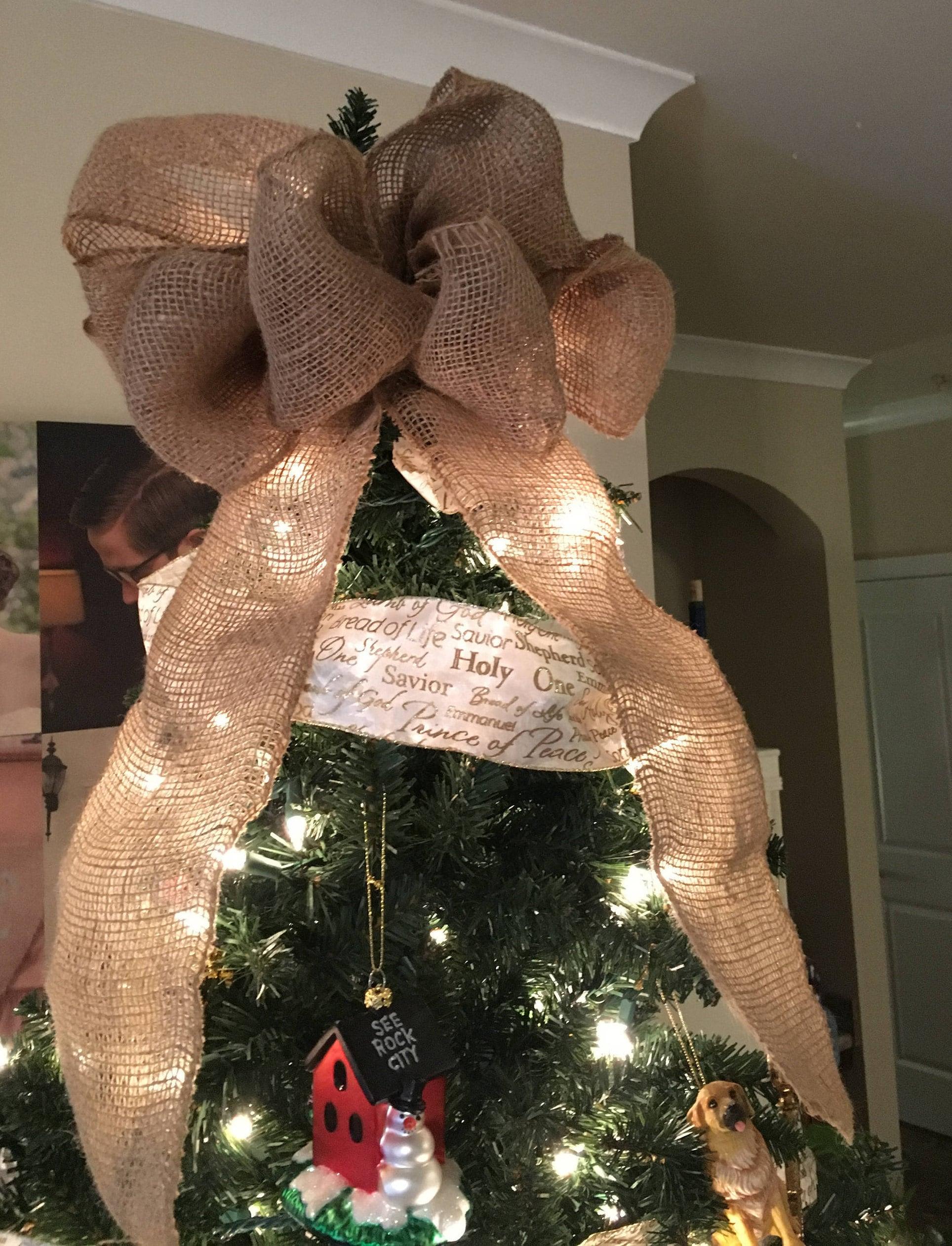 Burlap Bow Tree Topper Burlap Ribbon Topper Christmas Tree