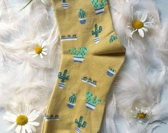 The Yellow Cactus Society/ valentine's gift Easter birthday/ spring trendy hipster handmade men's women's socks