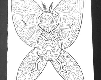 Moth Man Adult Coloring Page, 8x10 Printable